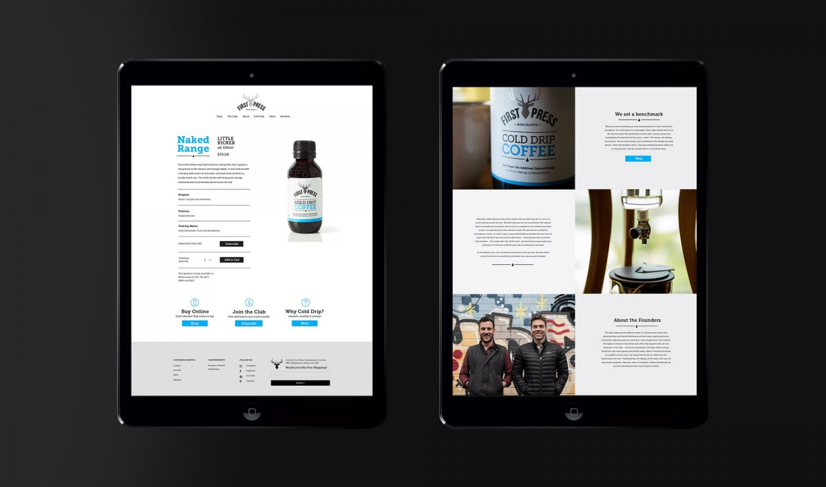 Website Design for First Press Coffee